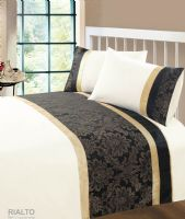 BLACK & GOLD COLOUR MODERN STYLISH DAMASK BEDDING QUALITY DUVET QUILT COVER SET